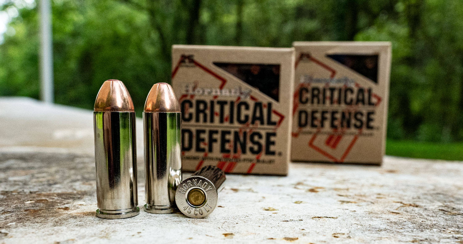 Hornady Critical Defense ammo showing headstamp