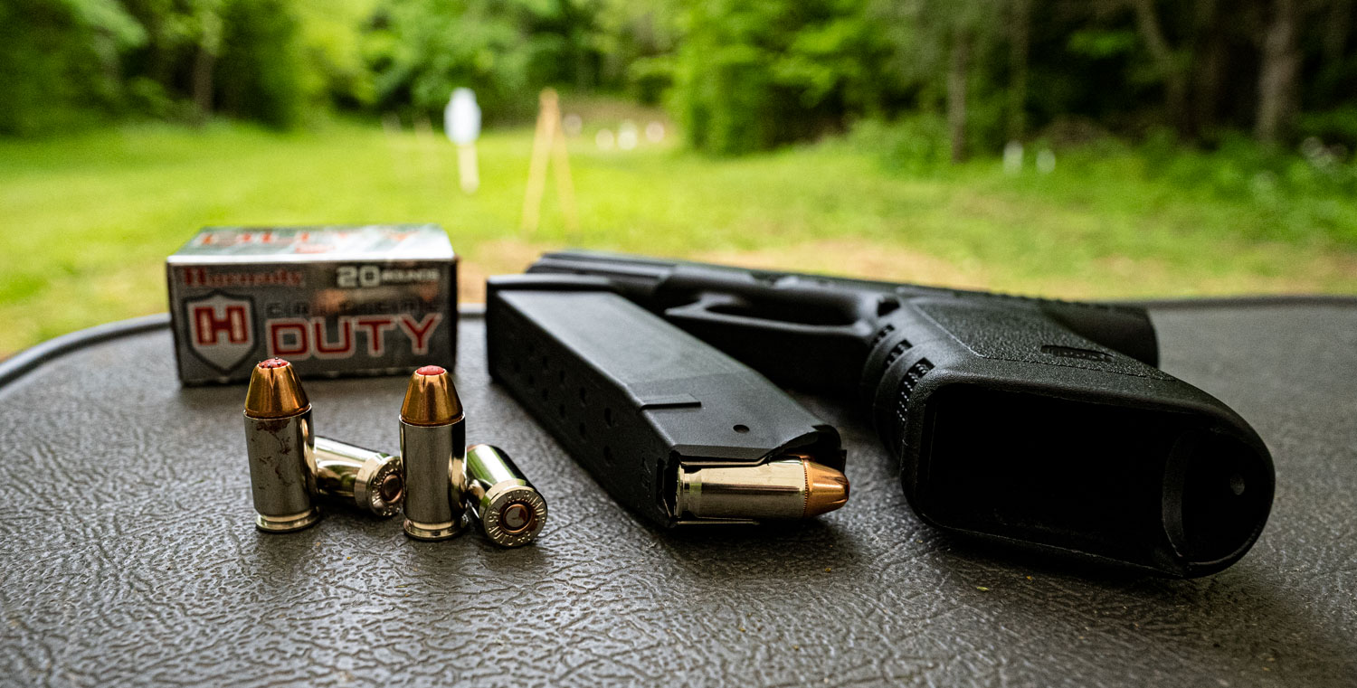 Hornady Critical Duty ammo with full size Glock pistol