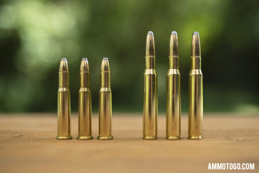 30-30 winchester ammo next to 30-06 ammunition for comparison