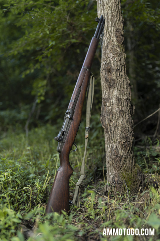 M1 Garand Rifle leaning on a tree