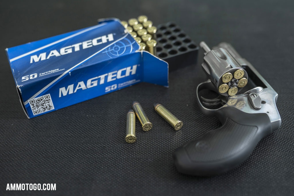 Smith & Wesson 357 magnum revolver loaded with Magtech FMJ ammo