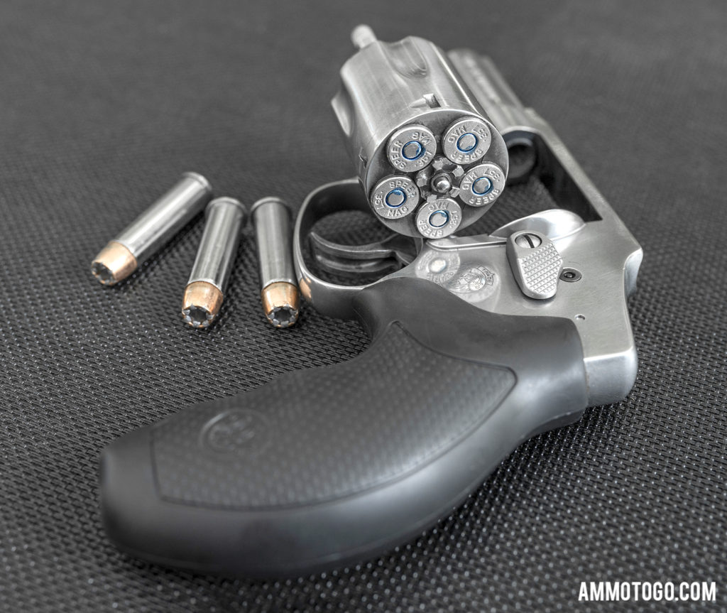 Smith & Wesson Revolver loaded with hollow point ammunition