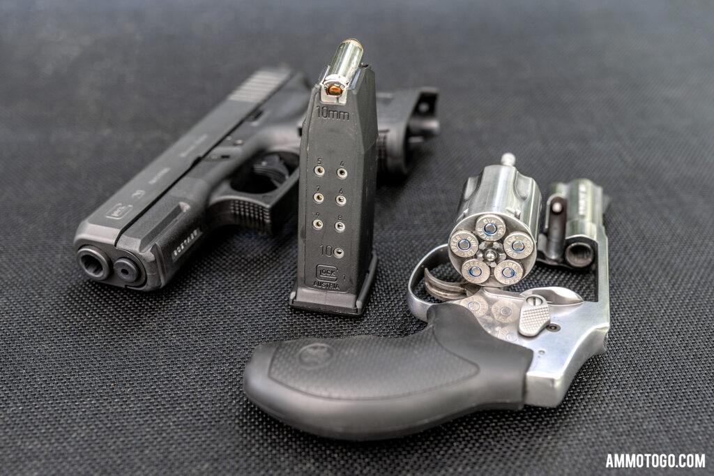 Ammunition capacity of a 357 magnum revolver compared to a 10mm glock handgun