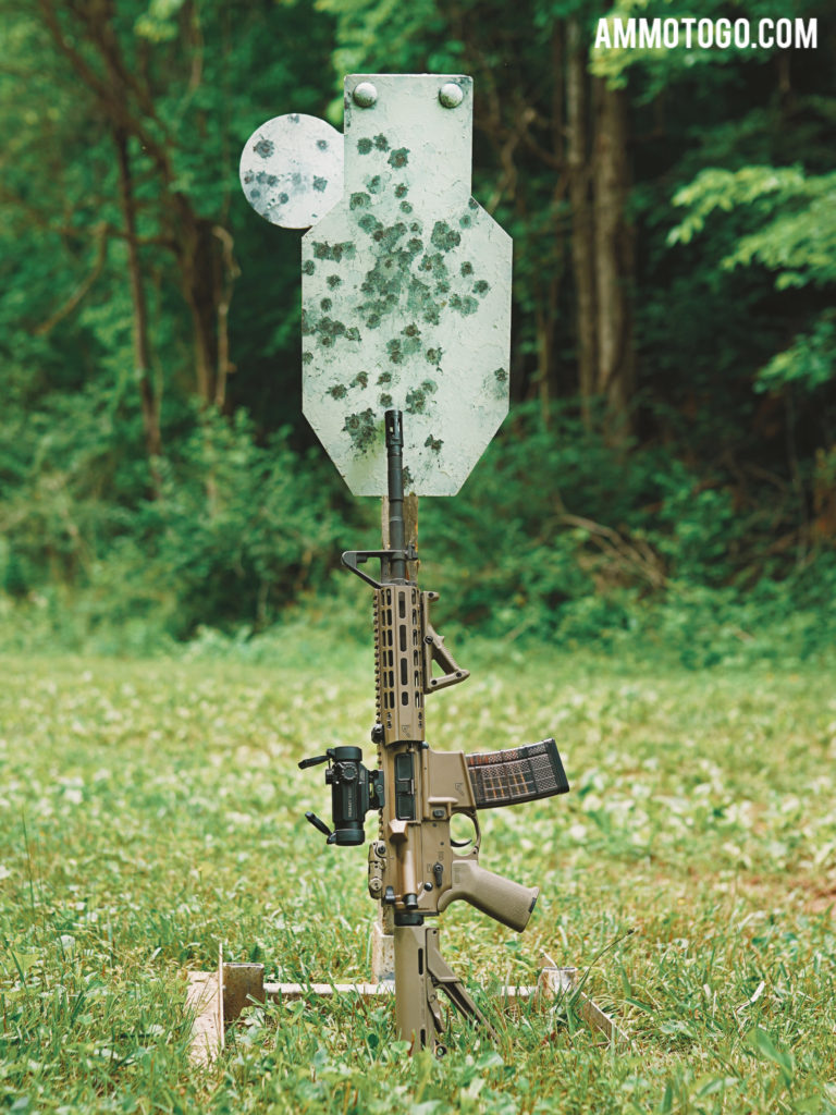 The muzzle energy of an AR-15 shot means you likely don't want to shoot at steel targets at close range.