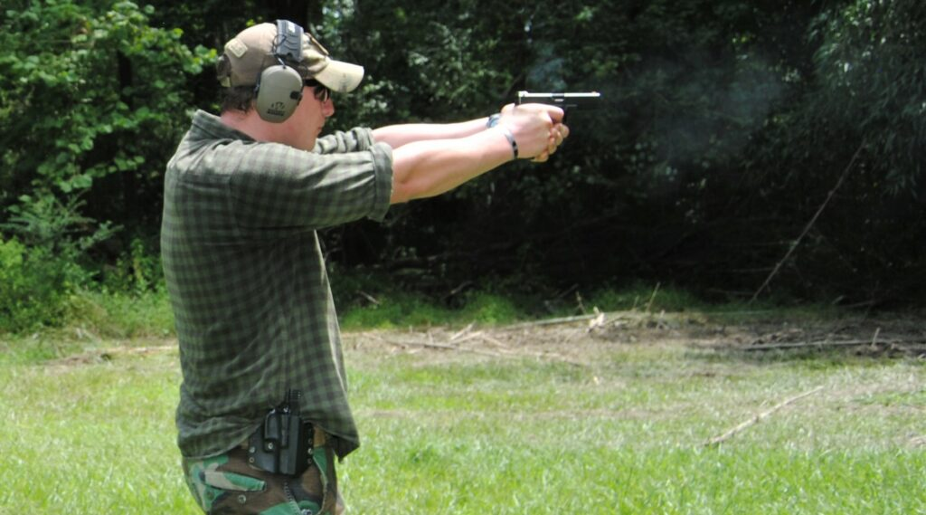 Firing the Glock 17 at a shooting range