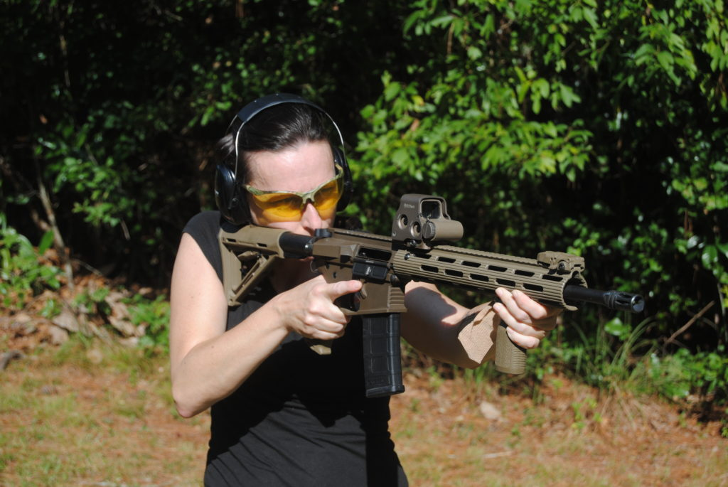 The author shooting a carbine at the range