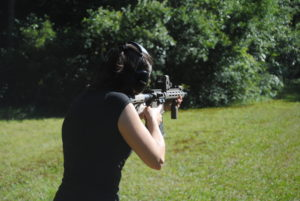 The author shooting a rifle with twist rate at the range
