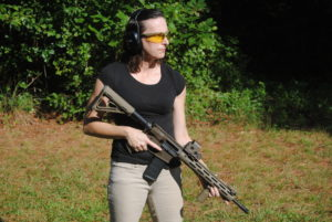 Alice, the author, shooting an AR-15 at the range