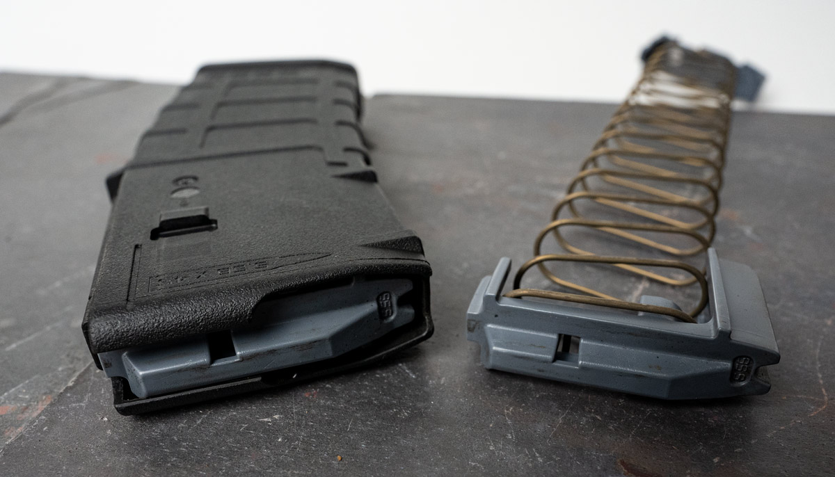A look at a gun magazine's feed lips and follower.