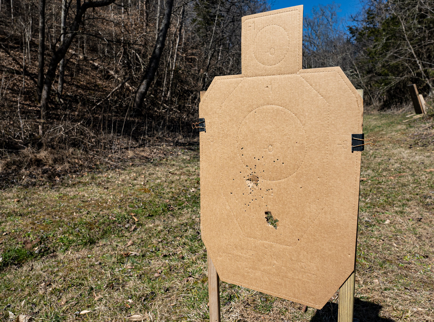 Pattern on a target at a shooting range
