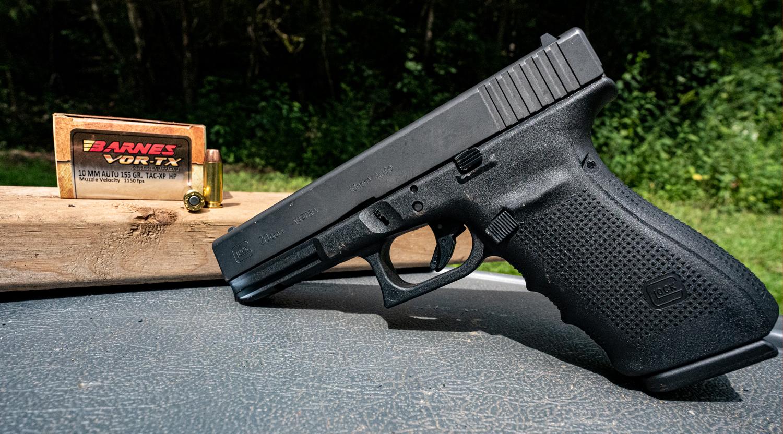 Glock 10mm pistol with Barnes ammunition at a shooting range