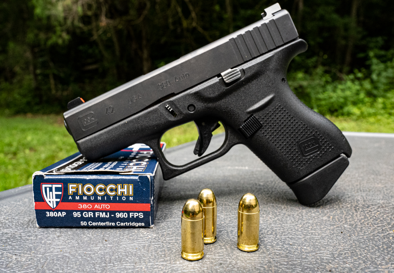A Glock 380 Auto Pistol with Fiocchi ammo
