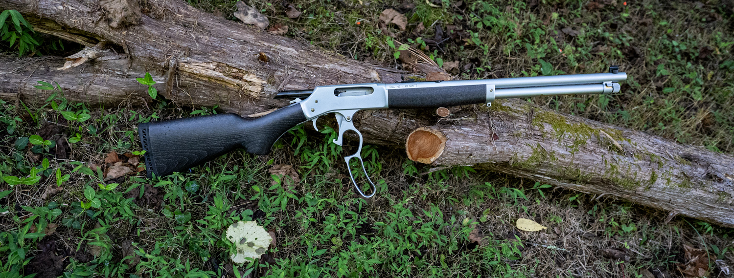 Henry 45-70 lever action rifle at the range