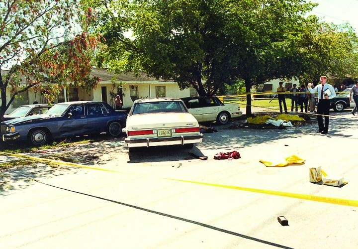 A crime scene photo of the infamous FBI Miami shootout.
