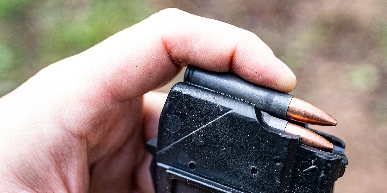 Loading 7.62x39 ammo into a rifle magazine
