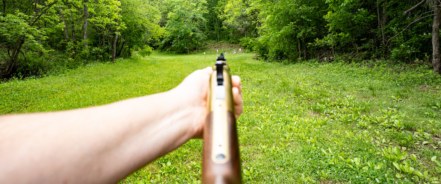 Looking downrange with a lever action rifle