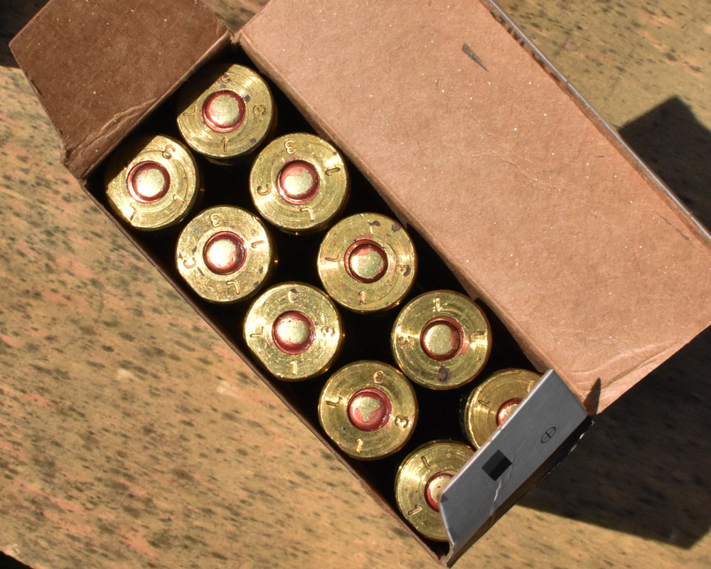 50 BMG M33 ammo on a table in a box