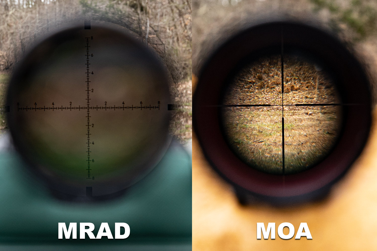 An MRAD scope next to a MOA scope