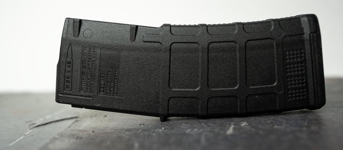 The casing of a Magpul Pmag gun magazine