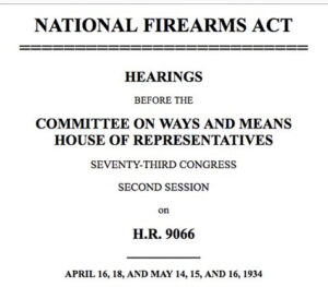 NFA Hearings flyer for the house of reps in 1934