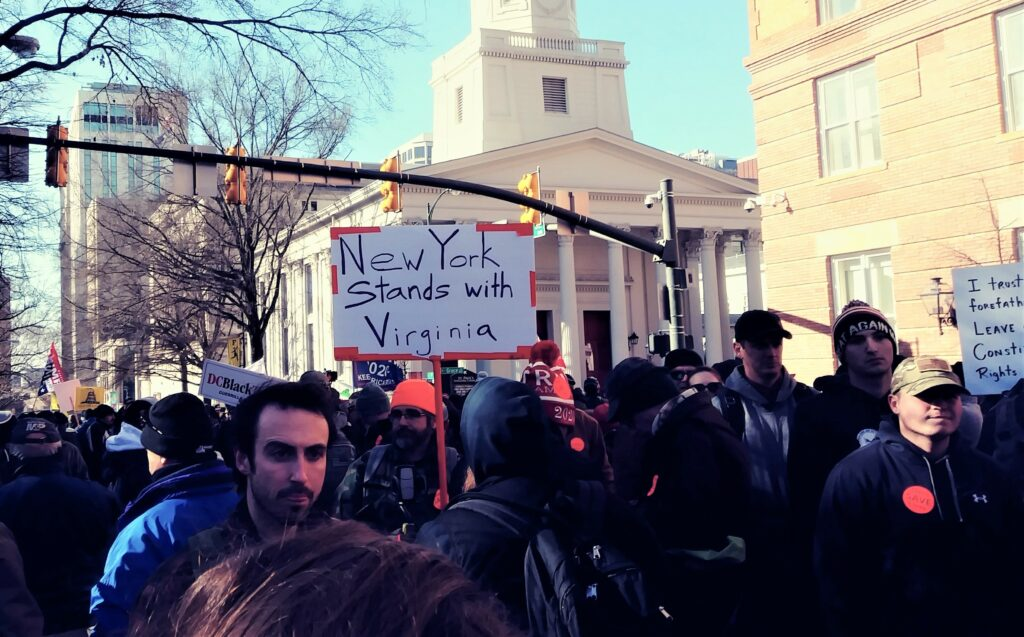Signs from the Virginia gun rights rally