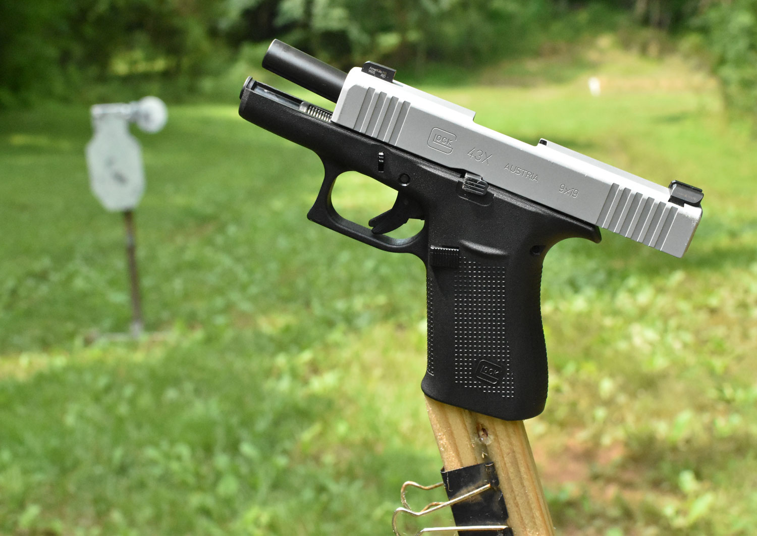 A glock handgun at the shooting range