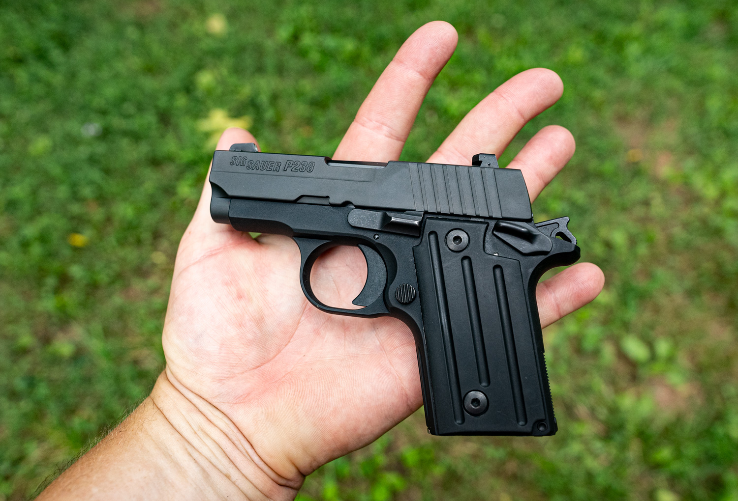 a common first pistol in the palm of a shooter's hand.