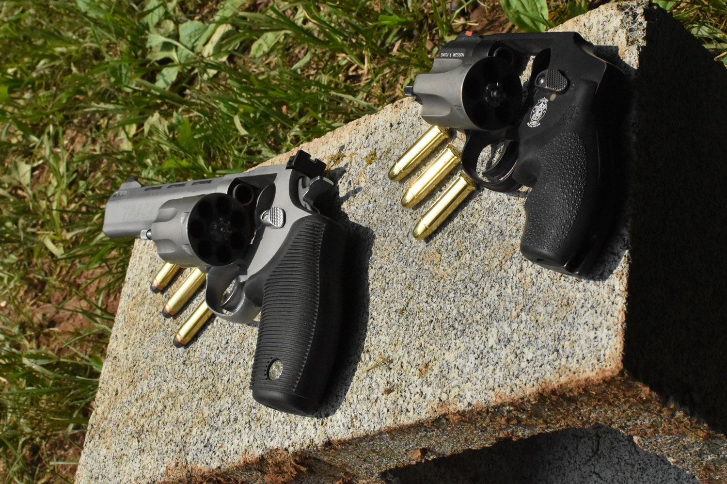 Revolvers at a shooting range