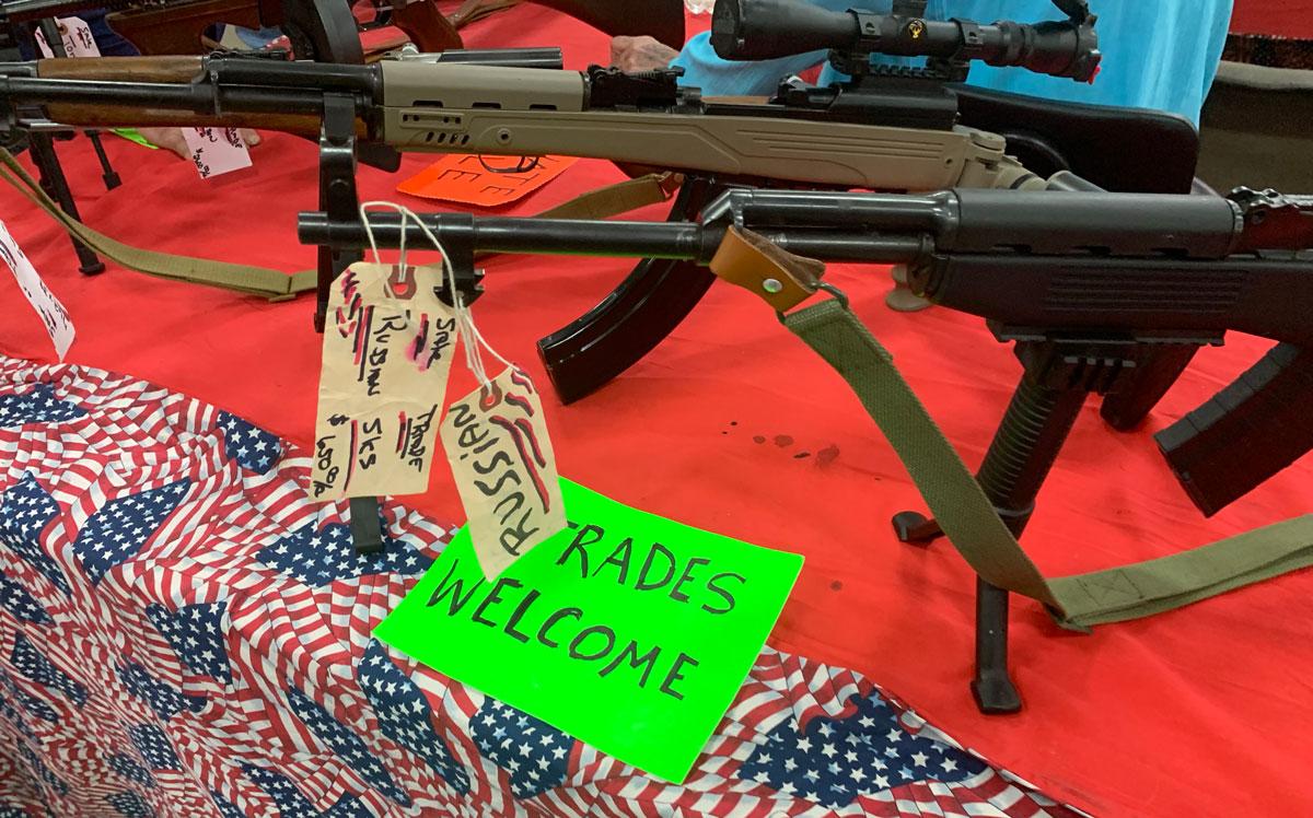 rifles for sale at a gun show