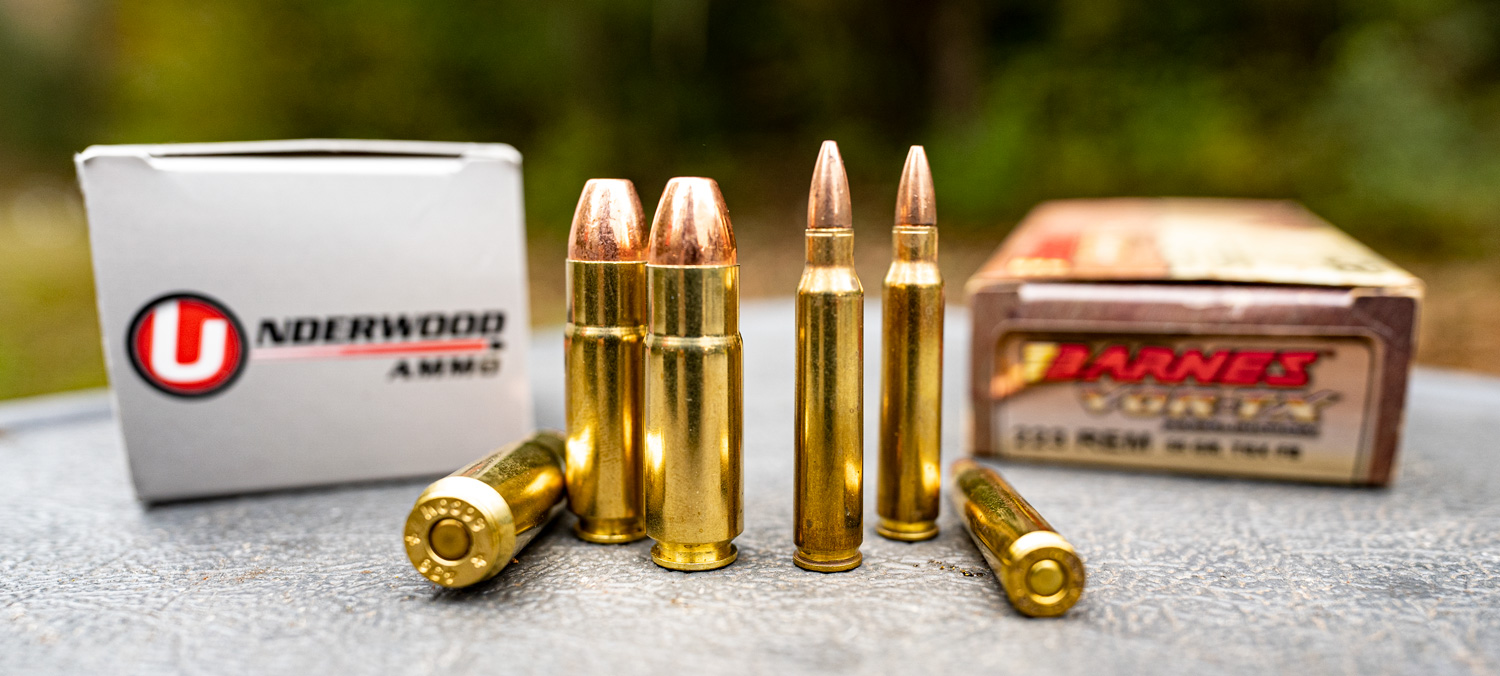 .458 SOCOM and 223 Remington ammo side by side
