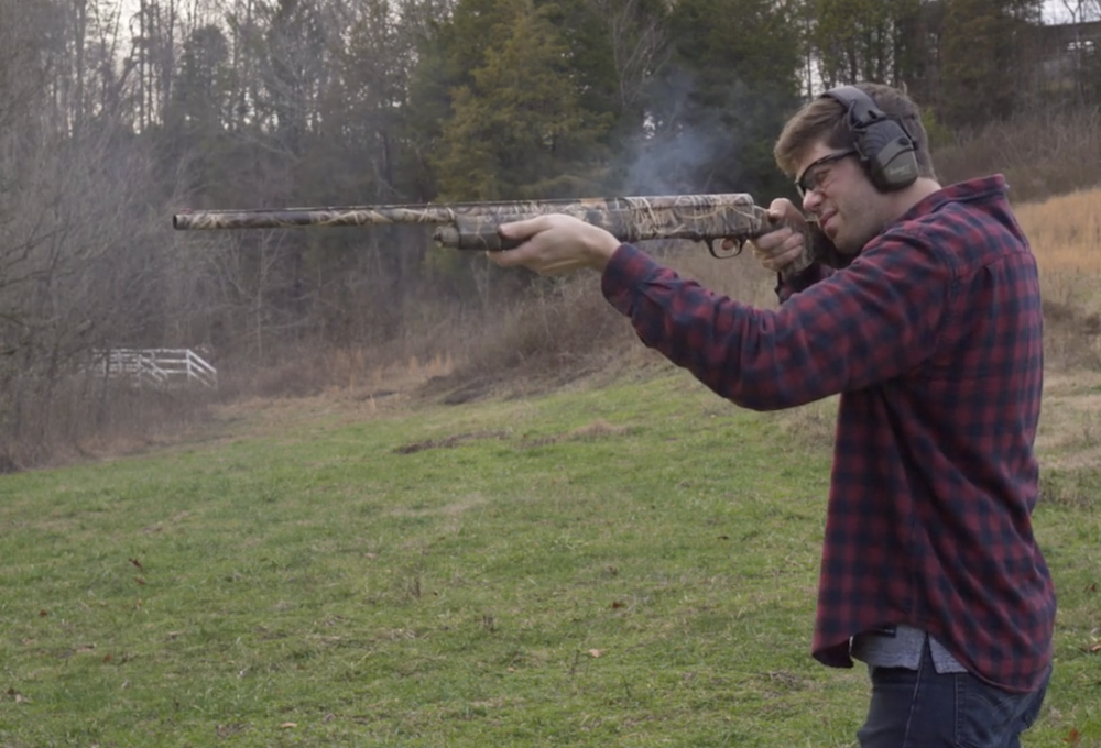 Firing a 12 gauge shotgun