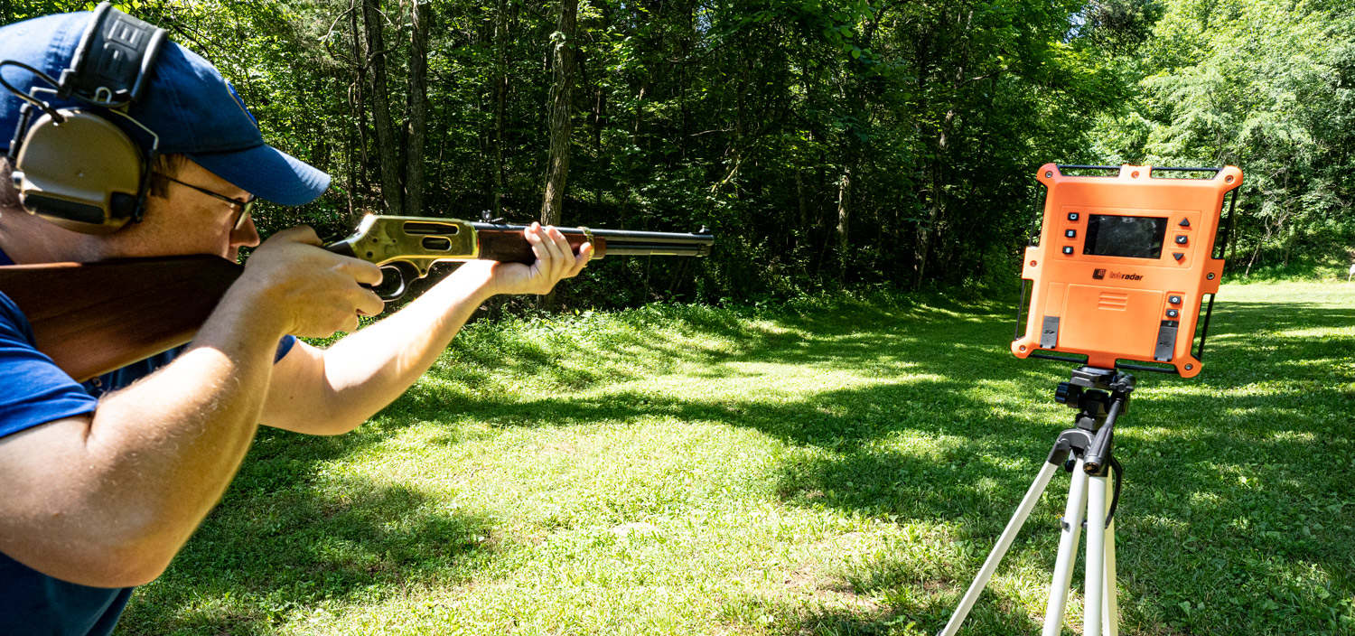 Shooting a lever action 30-30 rifle at the range