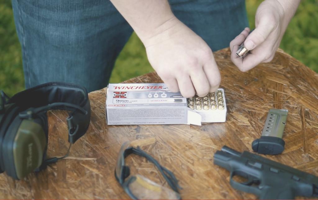 Loading Brass Enclosed Bullets into a gun magazine
