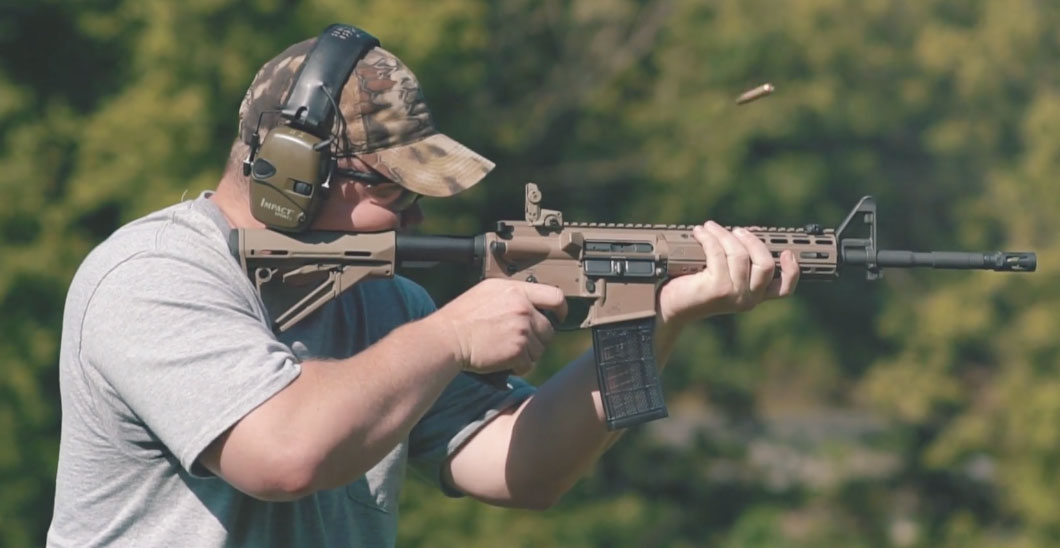 Shooting M855 with an AR-15 rifle at the range