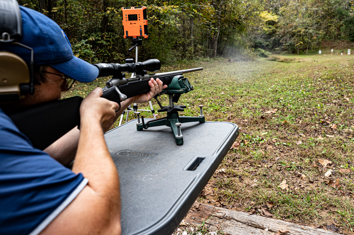 Shooting a 22-250 rifle at the range and measure ballistic properties