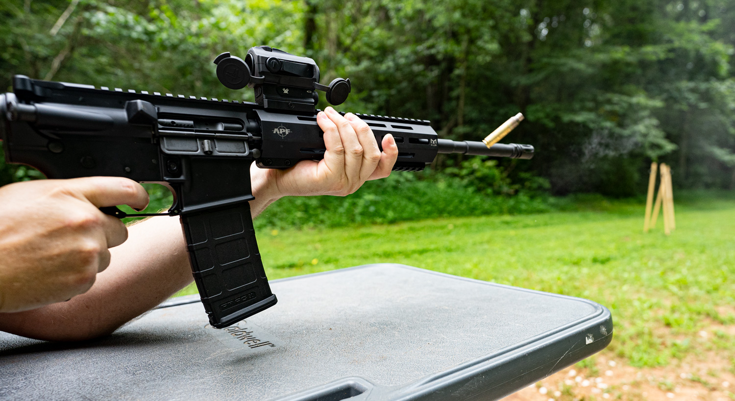 Shooting an AR-15 at the range