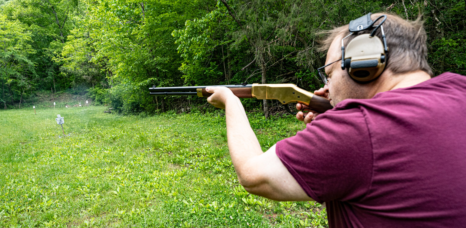 Shooting a 38 special lever action rifle at the range