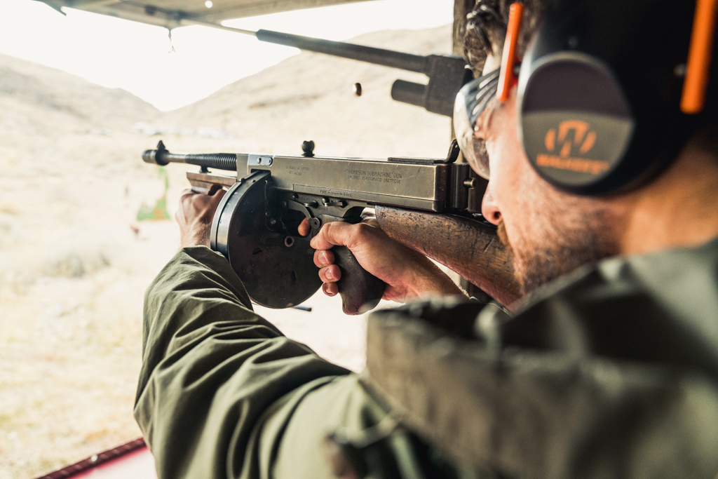 Shooting a thompson submachine gun at the range