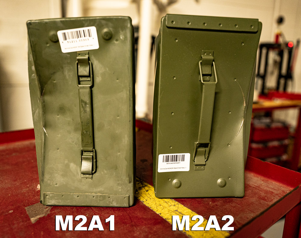 M2A1 damaged can side by side with m2a2 damaged can