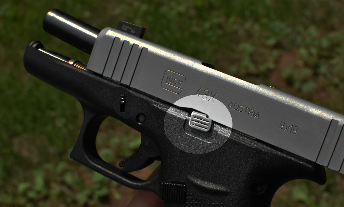 slide lock or slide stop on a glock pistol