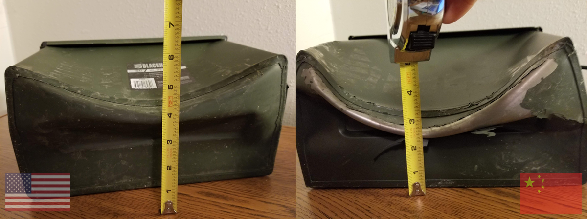 Made in U.S.A. ammo can strength vs. Made in China