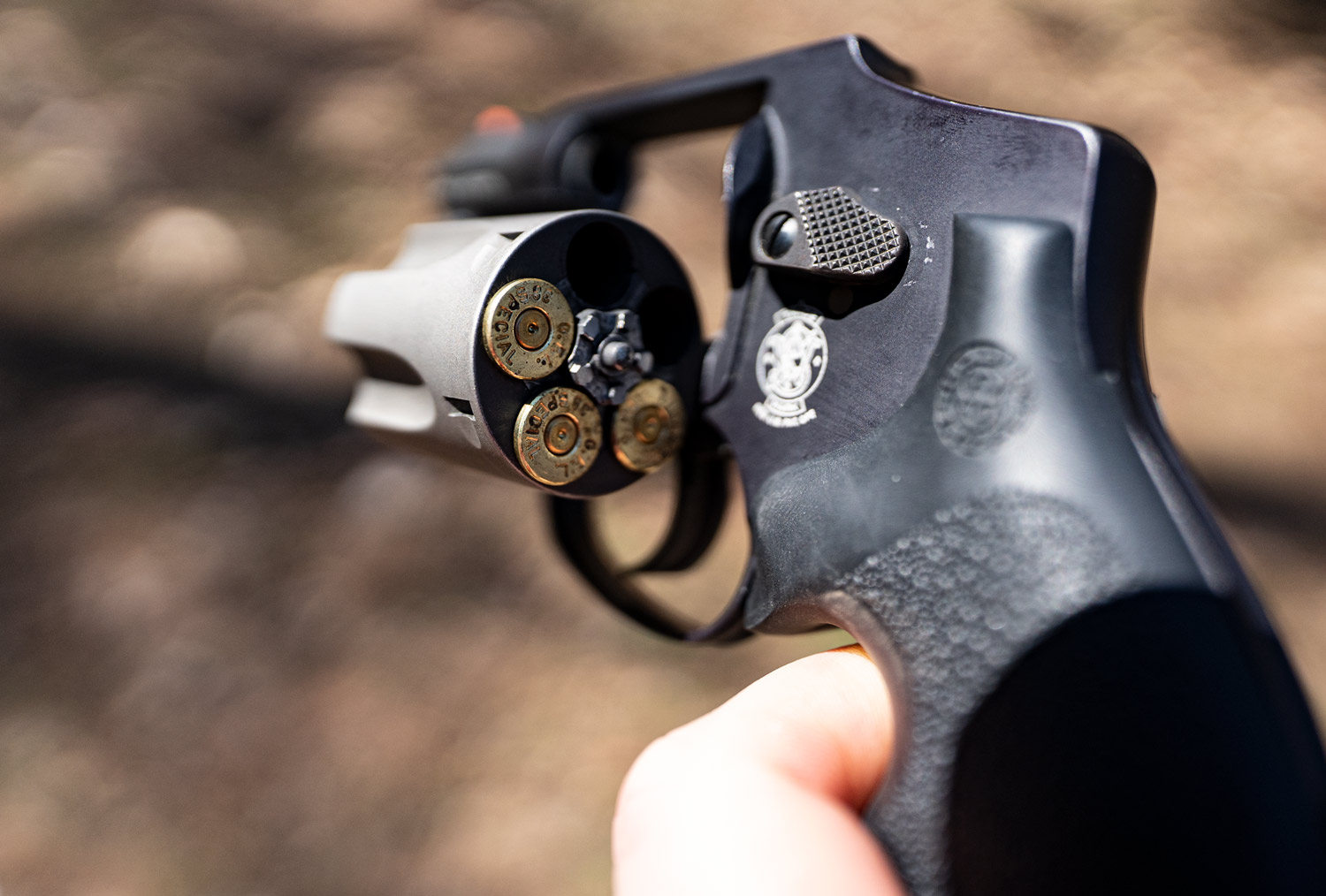 A Smith & Wesson snub nose revolver loaded with 38 special ammunition