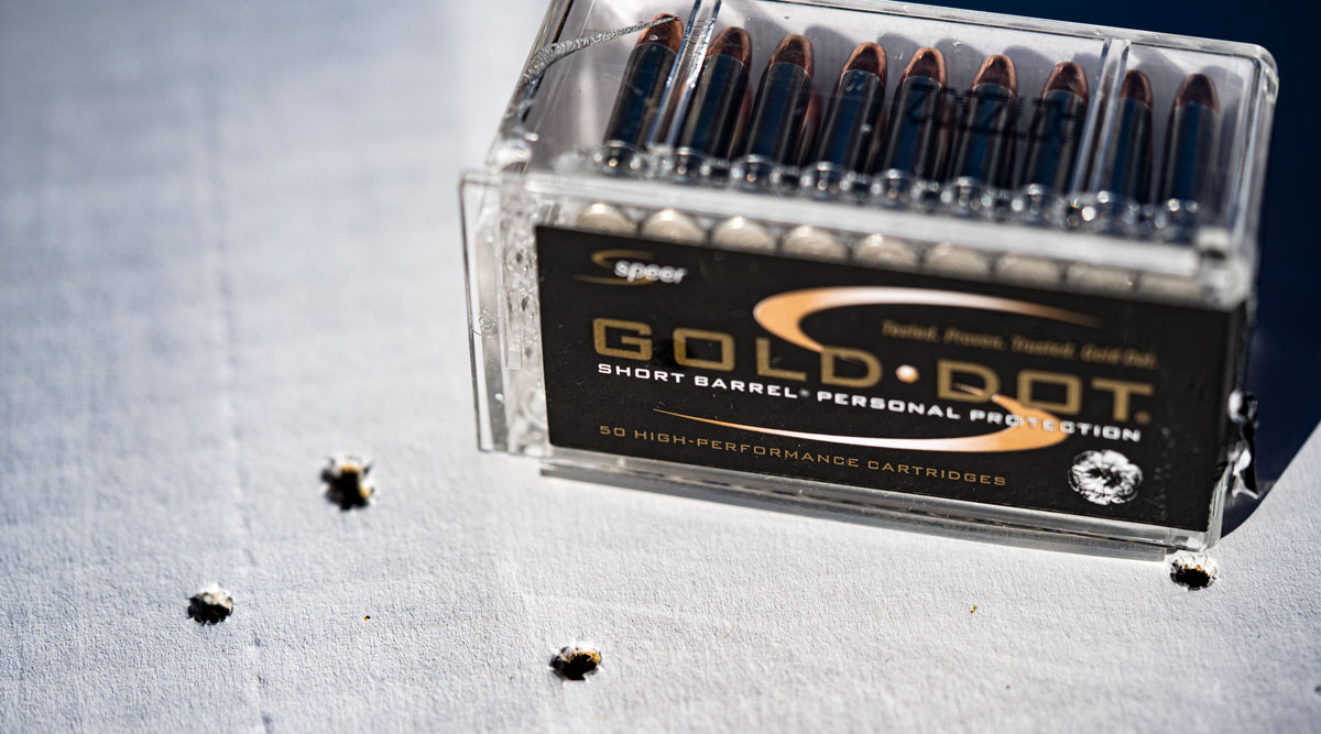 Speer Gold Dot 22 magnum ammo and holes in target