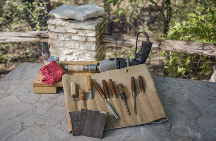 Chisels preparing to carve into a duck call barrel