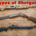 various types of shotguns on a table