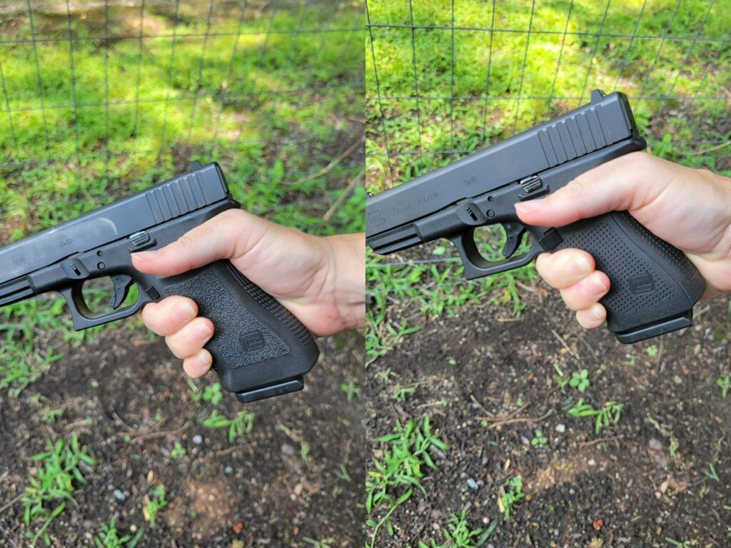 Comparing the grip of the glock 17 vs glock 19