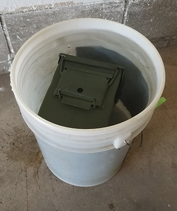 testing ammo cans submerged in water