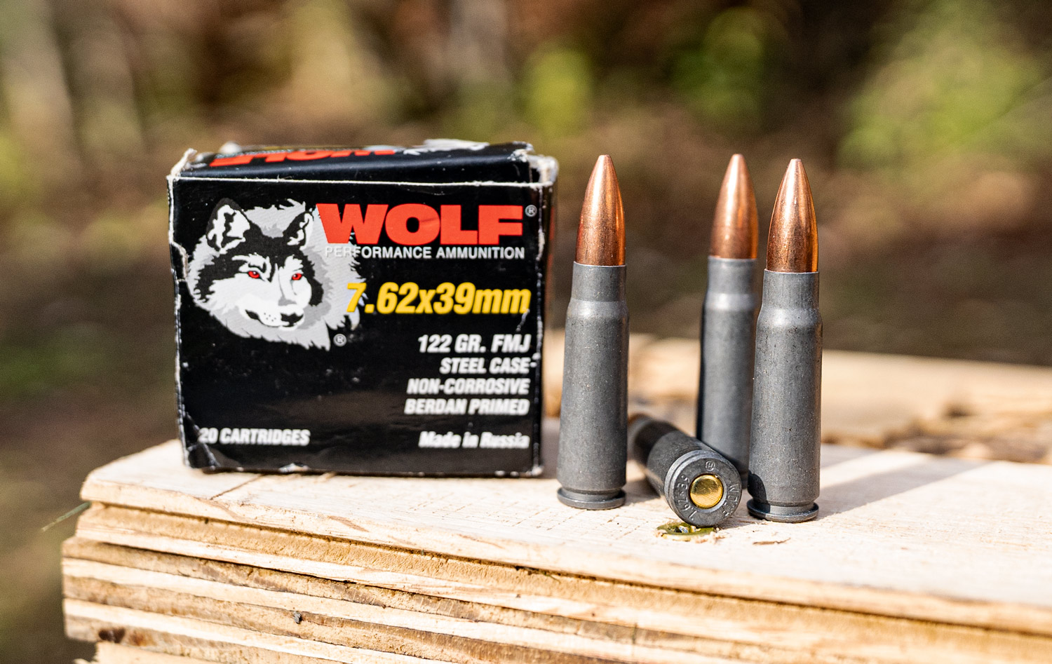 Wolf 7.62x39 ammo at a shooting range