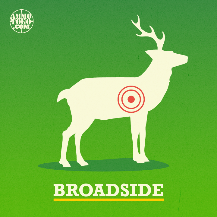 Shot angle with a deer at a 90-degree angle from you as the hunter