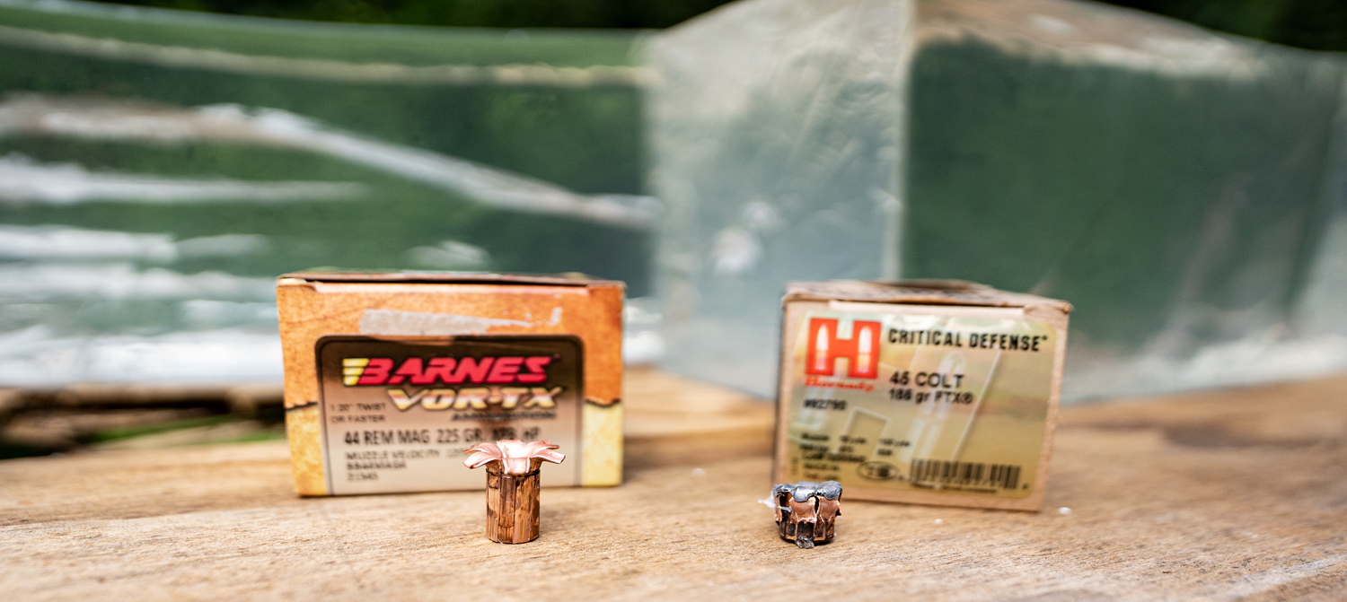 Expanded 45 long colt vs 44 magnum hollow point bullets tested by the author